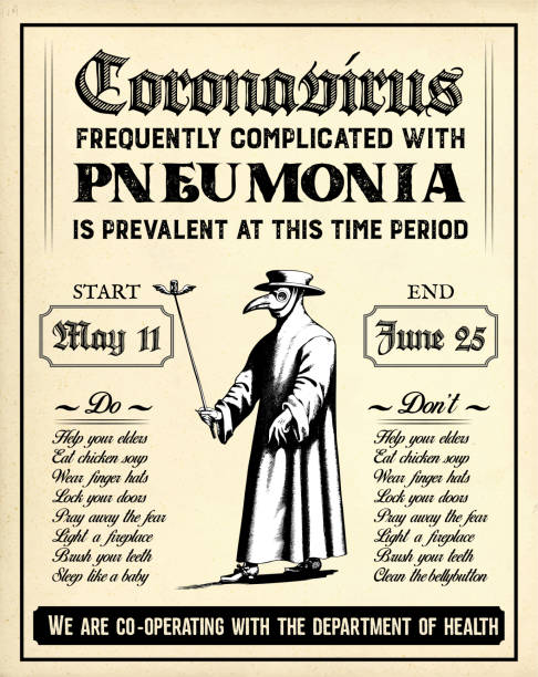 Old Retro Pandemic Poster in Vintage Style with Plague Doctor Warning of Covid-19 Symptoms vector art illustration