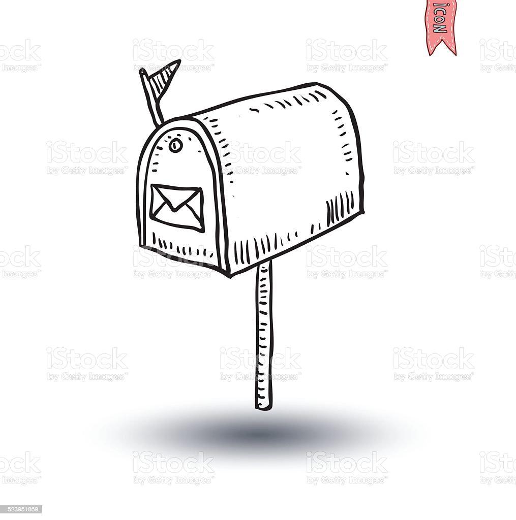 Alte retro tin Briefkasten, handgezeichnete Vektor-illustration ein. – Vektorgrafik
