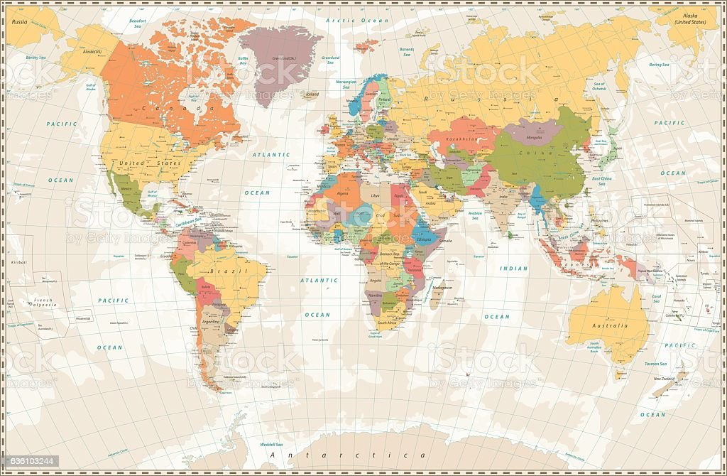 Old retro World Map with lakes and rivers - ilustración de arte vectorial