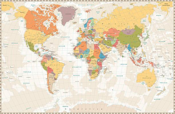 old retro world map with lakes and rivers - ビンテージの地図点のイラスト素材/クリップアート素材/マンガ素材/アイコン素材