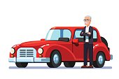 istock Old rich man standing next to expensive retro car 827683826