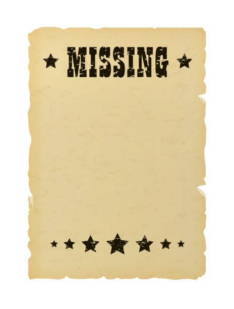 stockillustraties, clipart, cartoons en iconen met oude geripte ontbrekende papier poster. wild west stijl brochure. - verdwaald