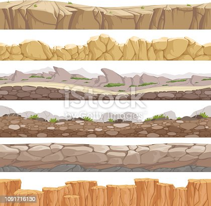 Old rock road endless. Endless fantastic rockie ground various types games landscape vector backgrounds. Ground scene stony, nature level layer pattern for gui illustration