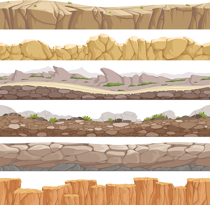 Old rock road endless. Endless fantastic rockie ground various types games landscape vector backgrounds