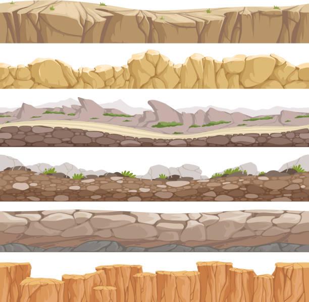 old rock road endless. endless fantastic rockie ground various types games landscape vector backgrounds - skała stock illustrations