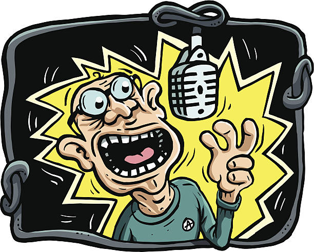 Old rocker singing in studio vector art illustration
