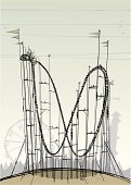 An old roller coaster with a fairground behind it, all elements are on their own separate layers, enjoy...