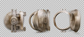 Old round safe door, metal bank vault gate isolated on transparent background. Vector realistic set of closed and open crumpled steel circle door with lock. Rusty iron bunker gates