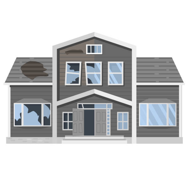 Old run-down house. Traditional suburban cottage.Isolated vector flat cartoon.Renovation building. Modern home before and after repair. bad condition stock illustrations