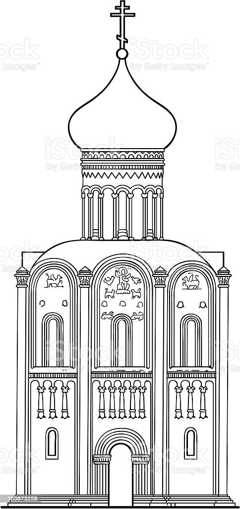 old Russian Orthodox church of the 12th century. royalty-free old russian orthodox church of the 12th century stock vector art & more images of ancient