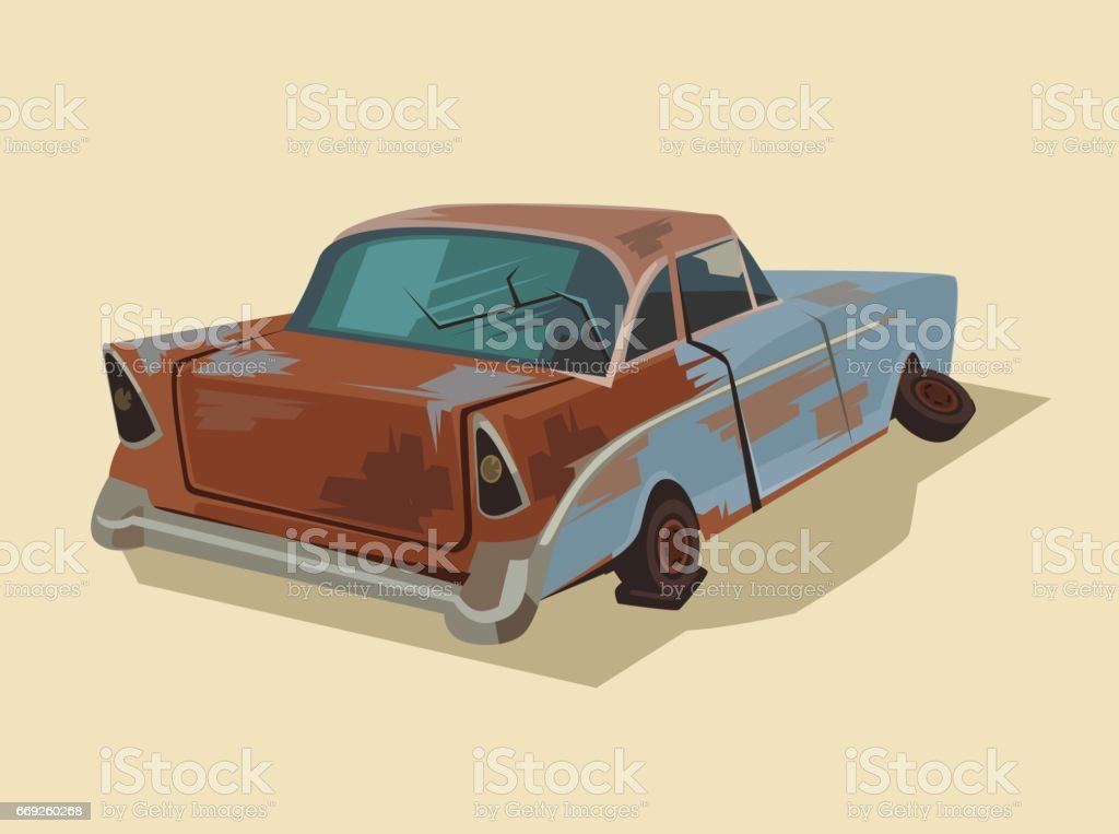 Old rusty broken car vector art illustration