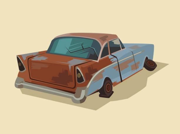 Old rusty broken car vector art illustration