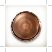 Old rusty metal button, icon