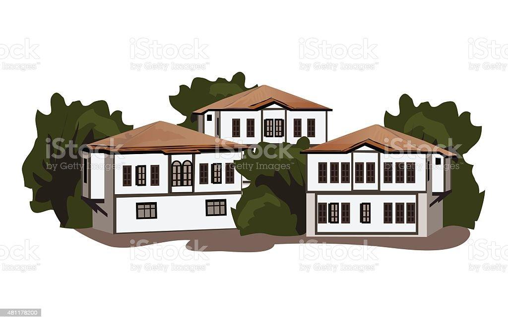 Old Safranbolu Houses vector art illustration