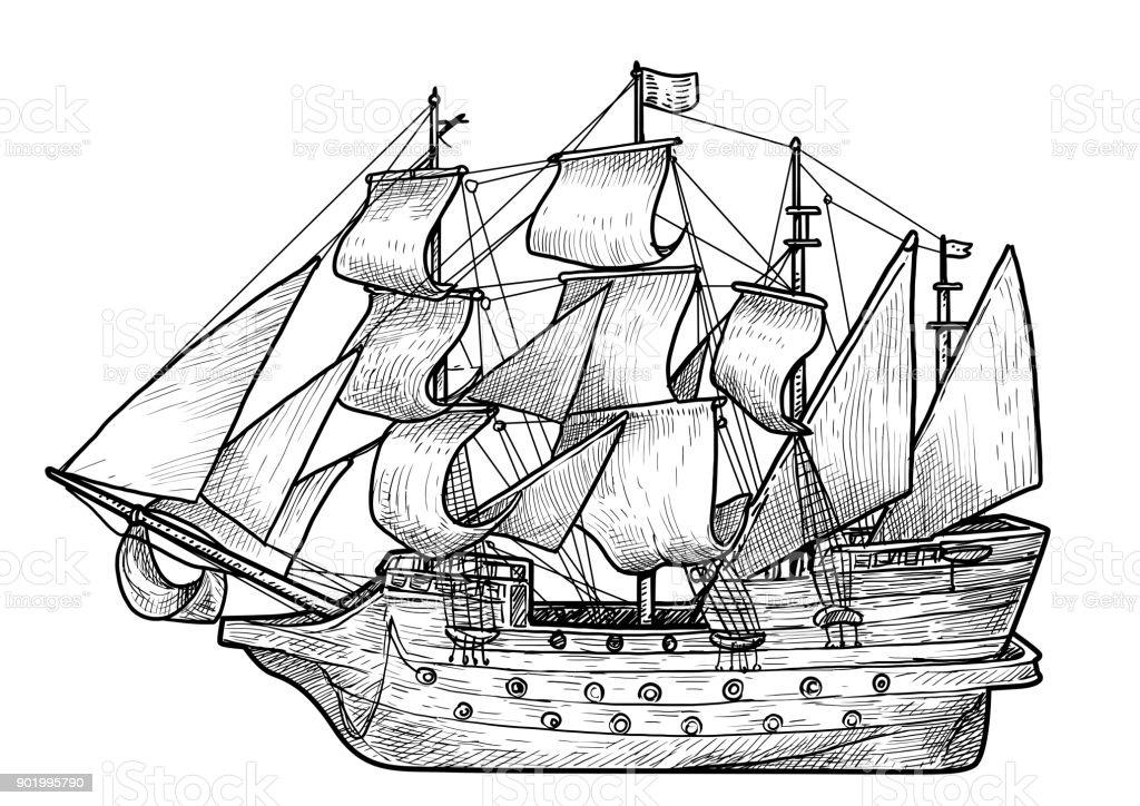 Ancien voilier illustration dessin gravure encre dessin au trait vecteur cliparts vectoriels - Voilier dessin ...