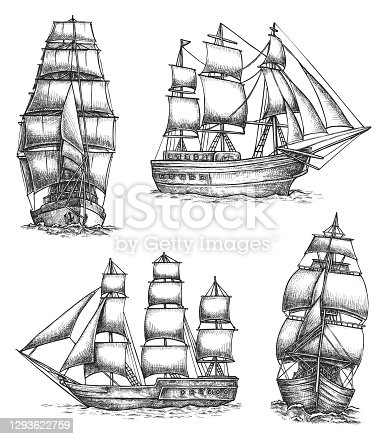 istock Old Sailing Ships Doodles Set 1293622759
