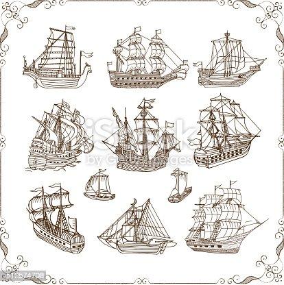 Old sailing ships doodles set. Vector illustration.