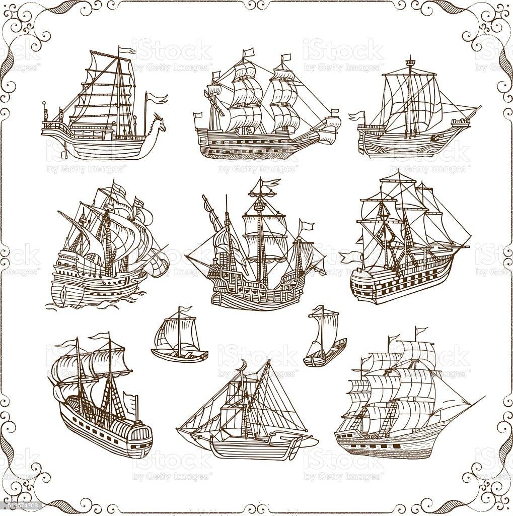 Old Sailing Ships Doodles Set vector art illustration