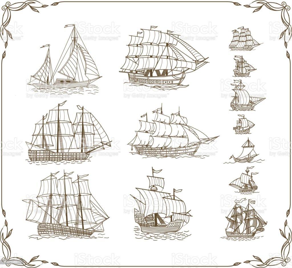 Conjunto de garabatos de los barcos de vela - ilustración de arte vectorial
