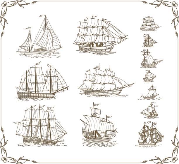 Old Sailing Ships Doodles Set Old sailing ships doodles set. Vector illustration. pirate ship stock illustrations