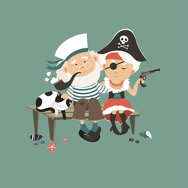old sailor sitting on bench with his beloved pirate - old man smoking pipe cartoons stock illustrations, clip art, cartoons, & icons