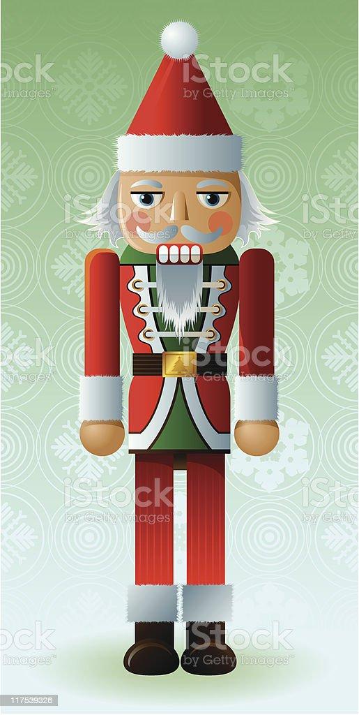 Old Santa Nutcracker vector art illustration