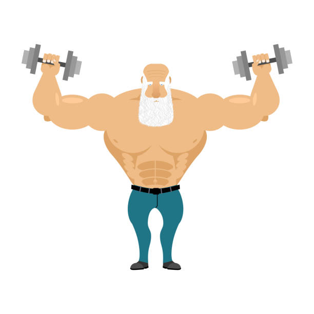 old santa trains with free weights. old man - old man naked background stock illustrations, clip art, cartoons, & icons