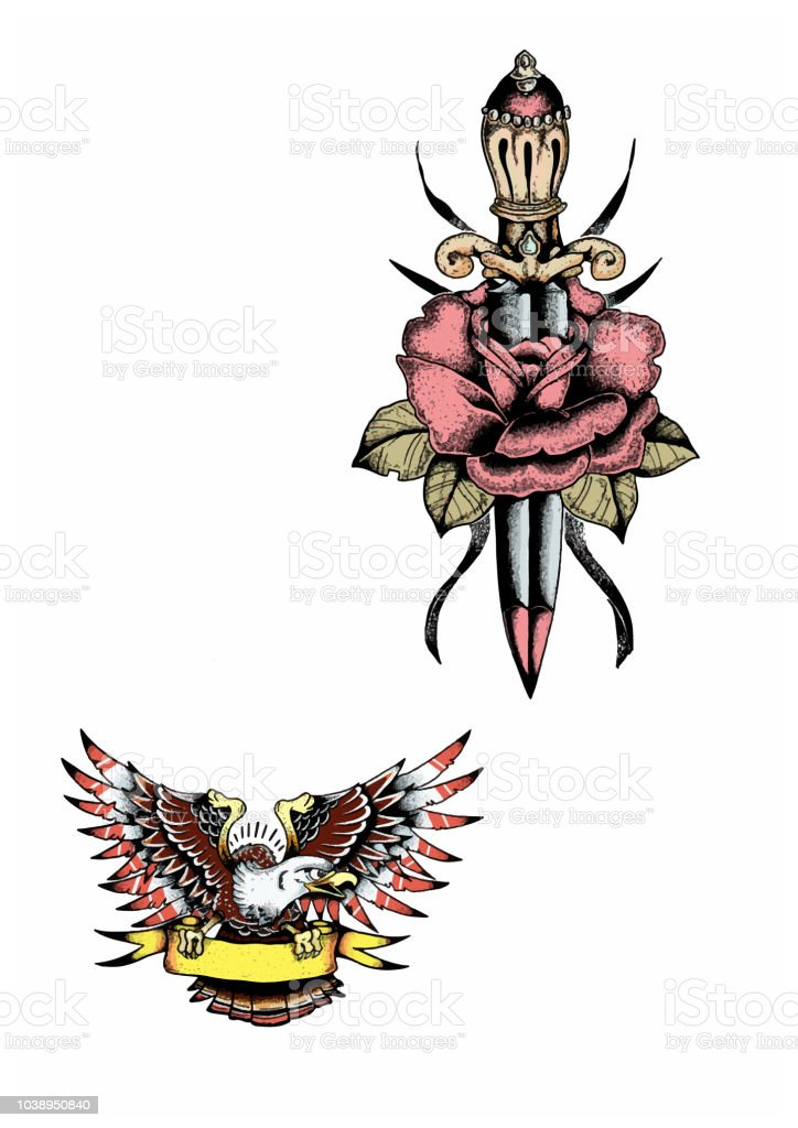 Old School American Tattoo Illustration Dagger With Rose And