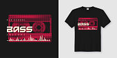 Old school bass t-shirt and apparel trendy design with styled musiccassette, typography, print, vector illustration