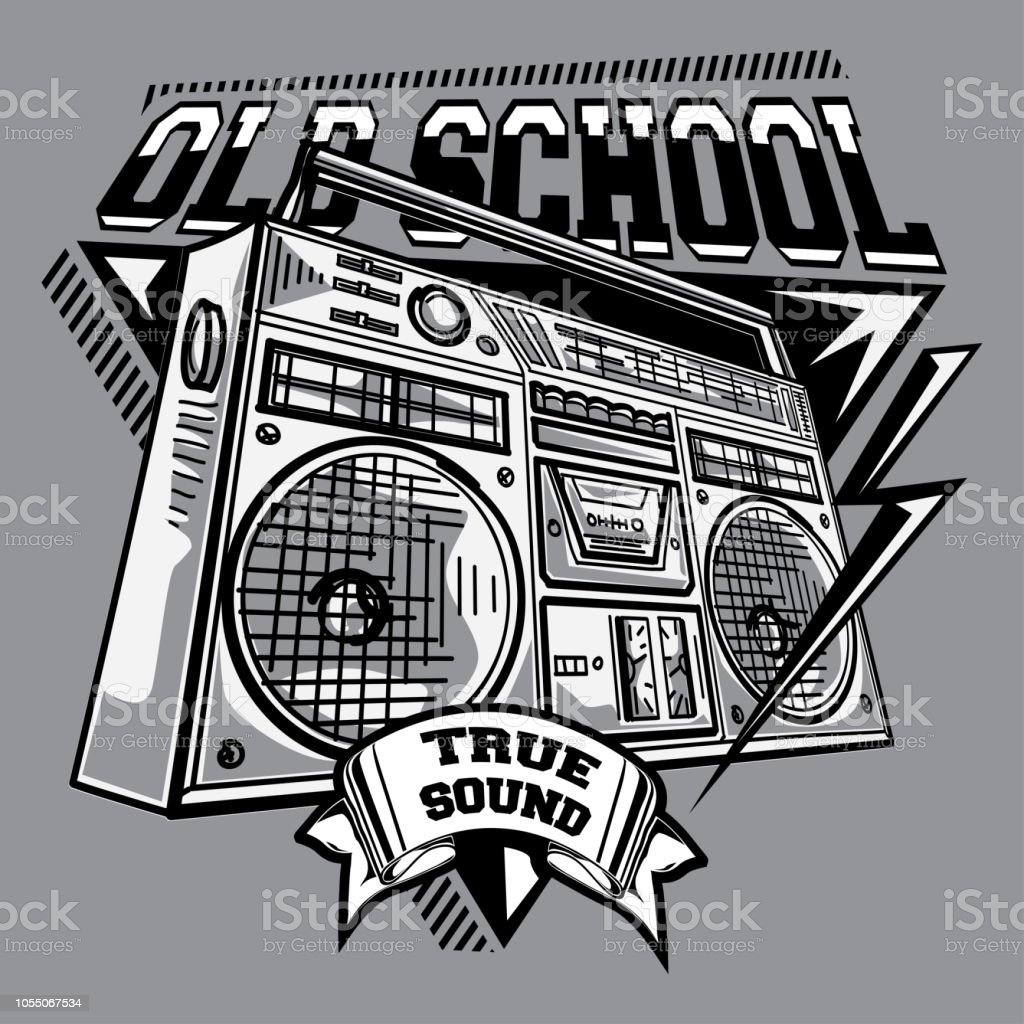 Old school black and white music emblem with boom box illustration