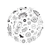Old school hipster black tattoo vector circle illustration. Part one.
