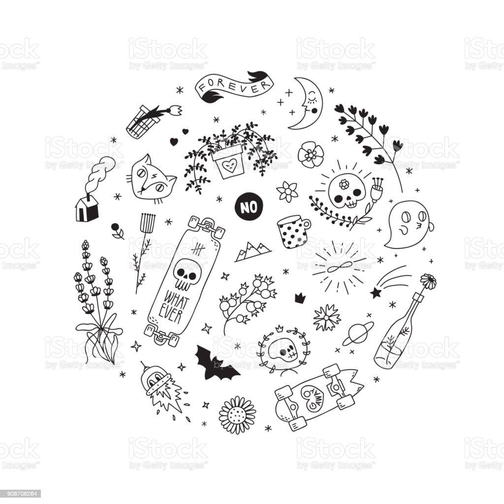 Ilustración de la vieja escuela del tatuaje vector círculo. Primera parte. - ilustración de arte vectorial