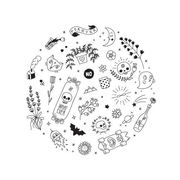 古い学校の黒いタトゥー ベクター サークル イラスト。パート 1。 - 星のタトゥー点のイラスト素材/クリップアート素材/マンガ素材/アイコン素材