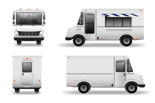 Old school Food Truck - Mockup set isolated. Realistic Food Truck vector template for car branding and advertising isolated on white.