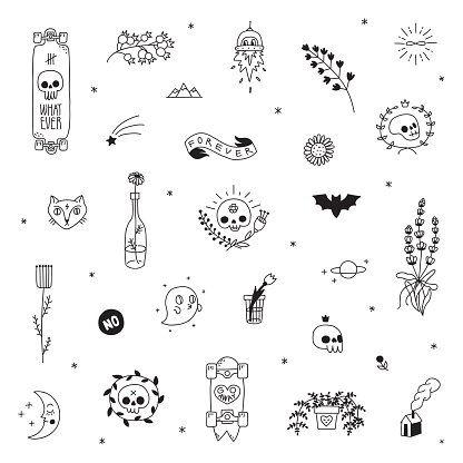 Old school hipster black tattoo vector set. Part two.