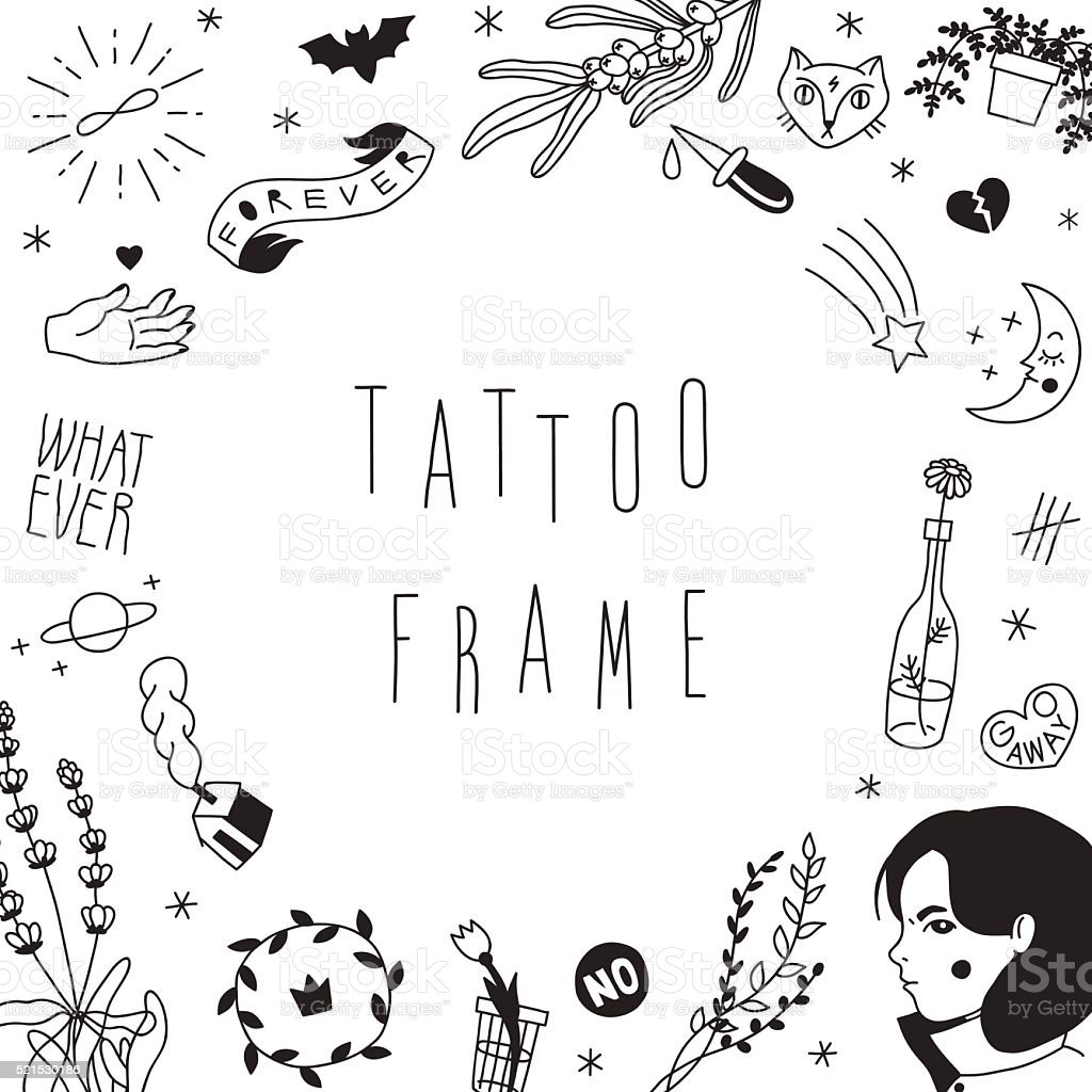 Old school hipster black tattoos vector frame. vector art illustration