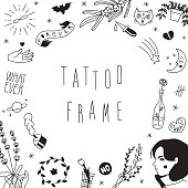 Old school hipster black tattoos vector frame.