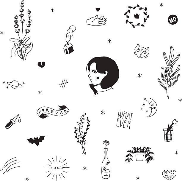 ilustraciones, imágenes clip art, dibujos animados e iconos de stock de antiguo colegio inconformista tatuajes vector de negro conjunto. - tatuajes de luna