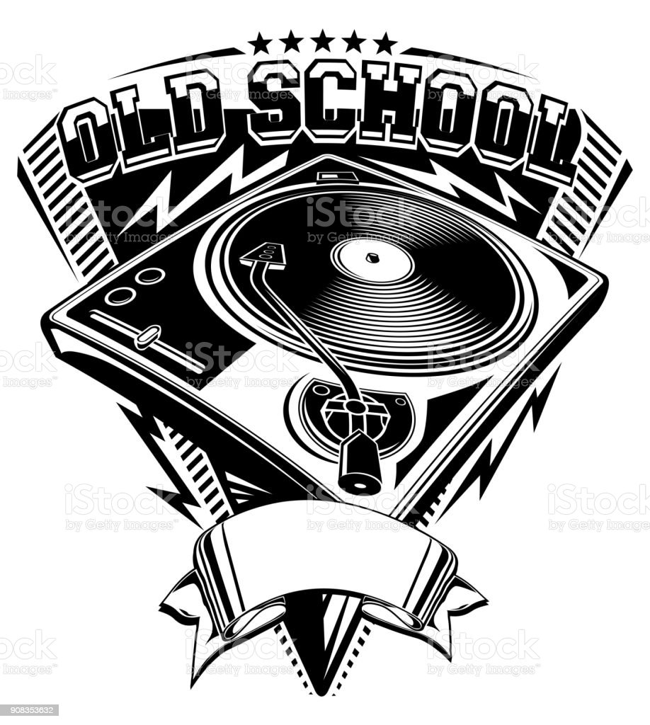 Old School Music Design With Turntable Stock Illustration - Download