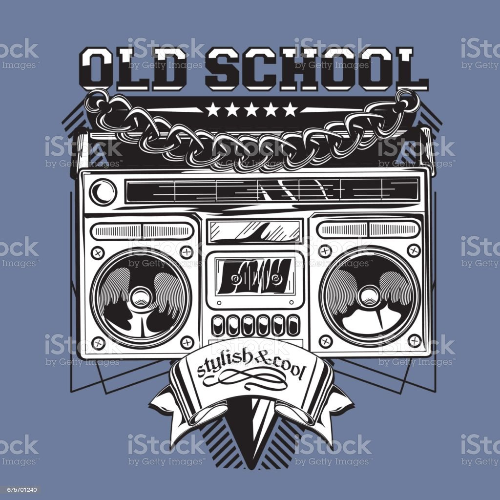 Old school music emblem with boom box royalty-free old school music emblem with boom box stock vector art & more images of advertisement