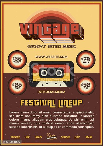 istock Old School Music Festival DJ Lineup Poster or Flyer Leaflet Template in Retro Style with Cassette Tape 1291041577
