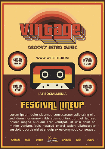 Old School Music Festival DJ Lineup Poster or Flyer Leaflet Template in Retro Style with Cassette Tape