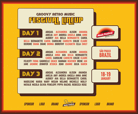 Old School Music Festival DJ Lineup Poster or Flyer Leaflet Template in Retro Style