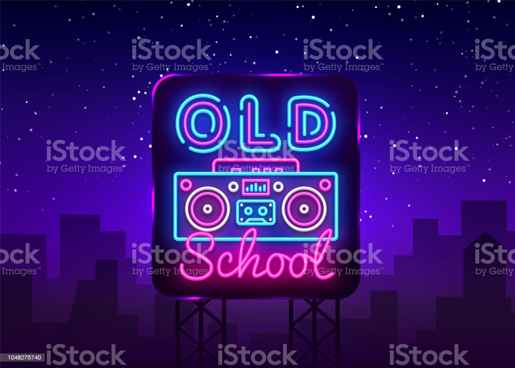 Old School Neon Sign Vector Retro Music Design Template Neon Sign