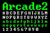 Old school Pixel Arcade Font (Vector Typeface). Flat geometric digital computer game style typography. Uppercase, Lowercase and Numbers.