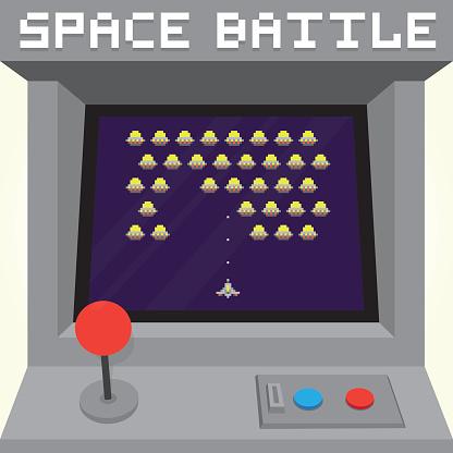 Old school pixel art style ufo arcade machine game cabinet