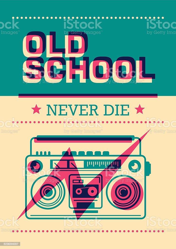 Old school poster with ghetto blaster. vector art illustration