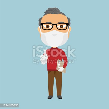 istock Old school professor teacher with mask and white gloves thumbs up and grey science book brown pants and red jumper beard glasses 1214455830