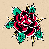 Old School red Rose. Print for t-shirt postcards logo icons. Vintage traditional art. Simbol of love. Barbershop or tattoo studio design. Stock vector illustration isolated on white.