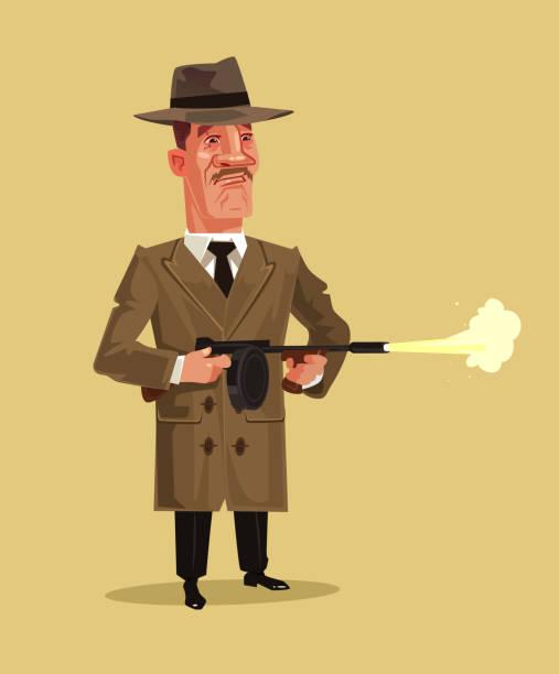 oldschool retro-gangster-maskottchen waffe waffe schießen. kriminalität ghetto schlacht shooting brechen niedrige konzept. flache cartoon grafikdesign isoliert vektorgrafik - kopfschüsse stock-grafiken, -clipart, -cartoons und -symbole